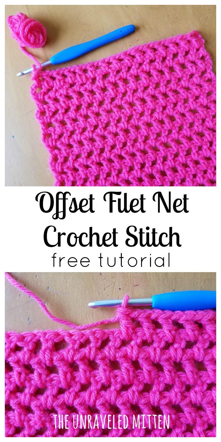 offset filet net crochet stitch