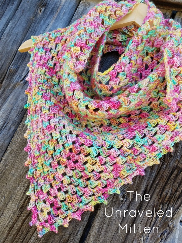 Crochet Mother's Day Gift Ideas: Spring Fling Triangle Scarf by The Unraveled Mitten