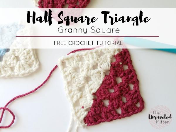 Half Square Triangle Crochet Tutorial | Two Tone Granny Square | The Unraveled Mitten
