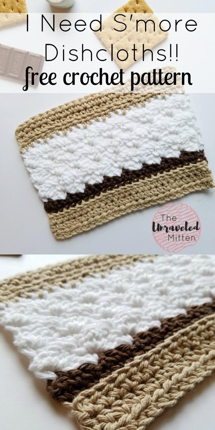 S'more Dishcloth Free Crochet Pattnern | The Unraveled Mitten | Easy | Beginner | Cotton yarn | Summer Crochet
