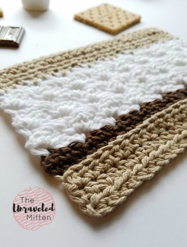 S'more Dishcloth Free Crochet Pattern | The Unraveled Mitten