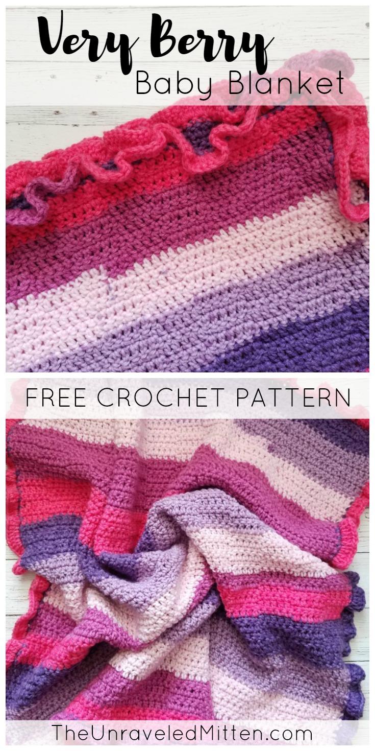 Very Berry Baby Blanket   Free Easy Crochet Pattern   The Unraveled Mitten   Bernat Pop Yarn