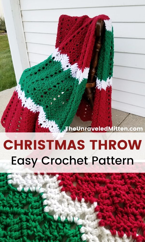 Merry & Bright Throw   Free Easy Crochet Pattern   This chevron crochet blanket is the perfect way to add some holiday cheer to your home this Christmas season! #crochet #crochetpattern #freecrochetpattern #christmascrochet