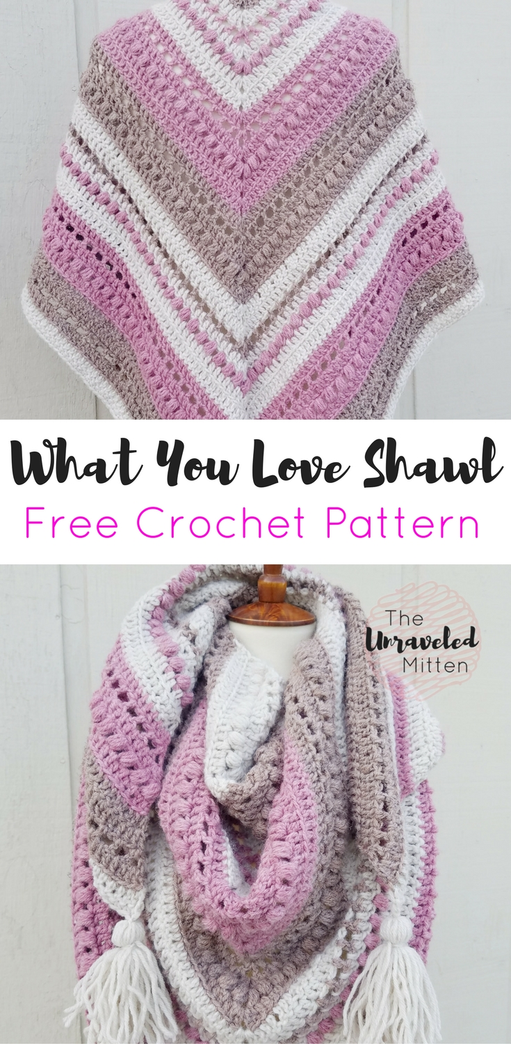 What You Love Shawl | Free Crochet Pattern | The Unraveled Mitten | Triangle Scarf