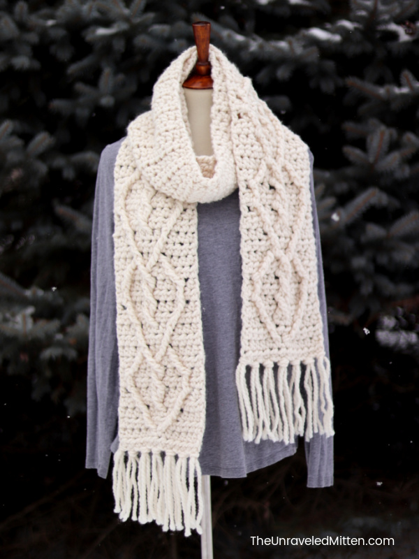 Crochet Scarf with Heart Cable Design and Fringe in Winter