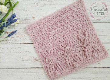 Crochet Cable Bunny Blanket Square Free Crochet Pattern | The Unraveled Mitten