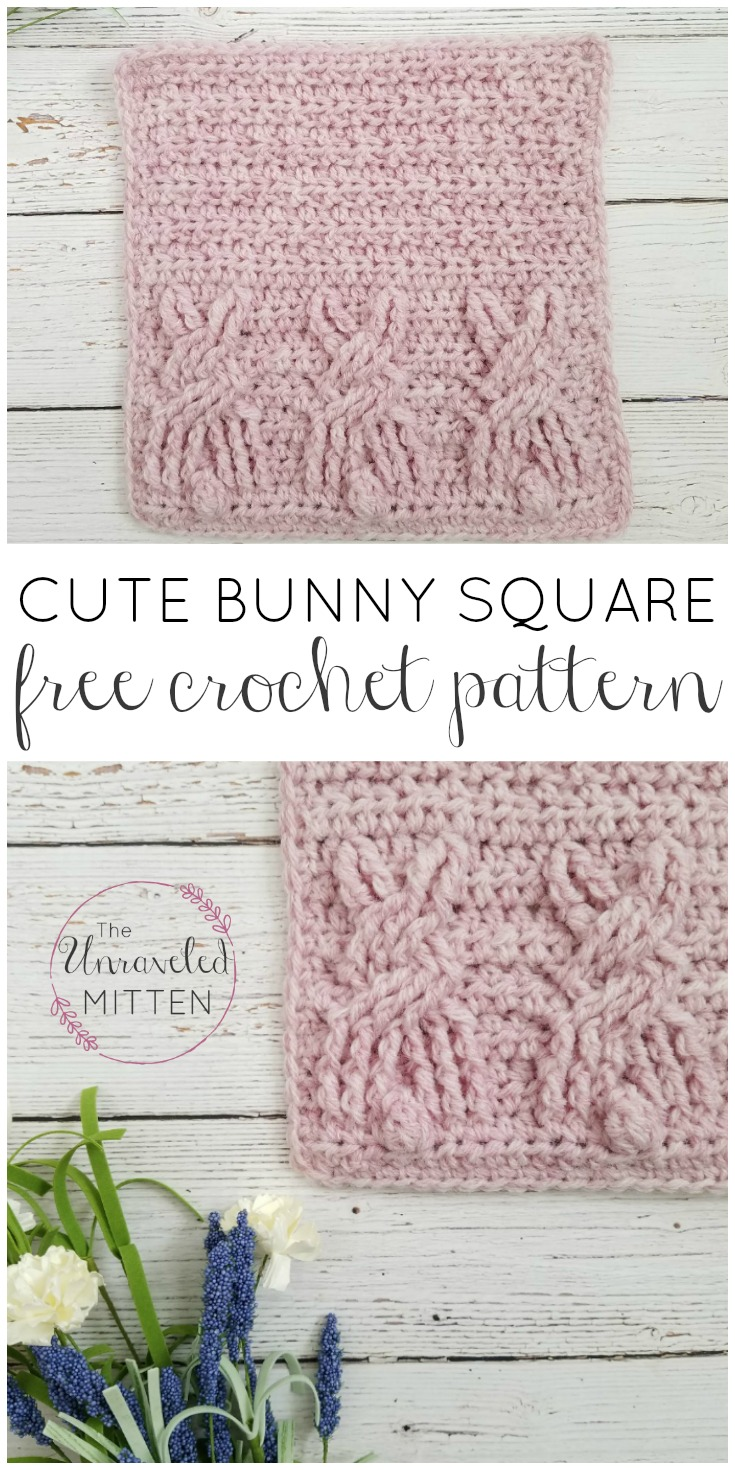 Cute Bunny Square | Free Crochet Pattner | The Unraveled Mitten