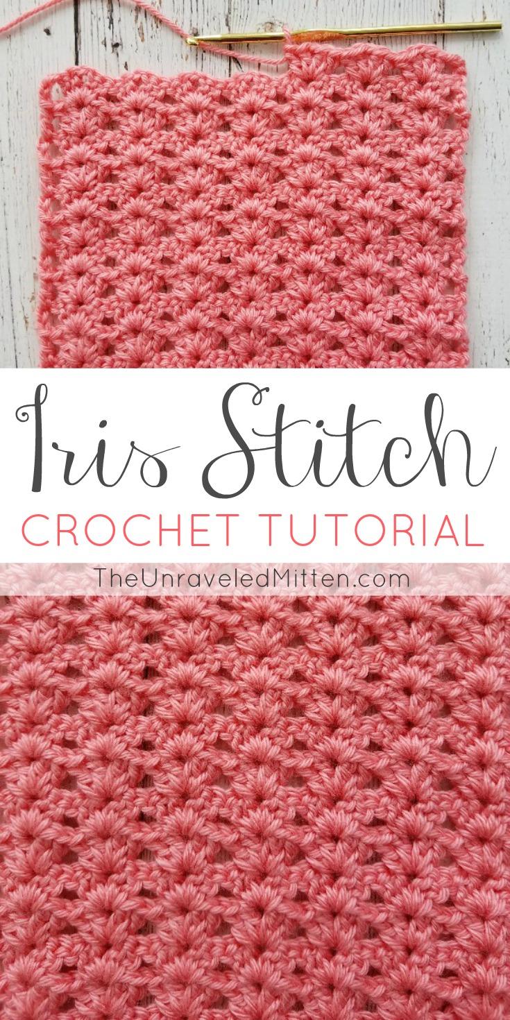 Iris Stitch Croche Tutorial | The Unraveled Mitten | Easy Shell Stitch | blanket | scarf | Beginner