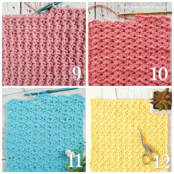 12 Stunning Crochet Stitches | The Unraveled Mitten | Back and Front Loop Half Double Crochet | Iris Stitch | Balanced Shell Stitch | Lemon Peel Stitch