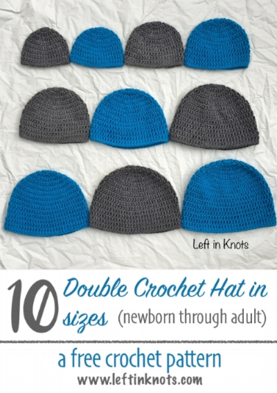 Basic Double Crochet Hat by Left in Knots | Part of a FREE Crochet Hat Pattern Round up on The Unraveled Mitten