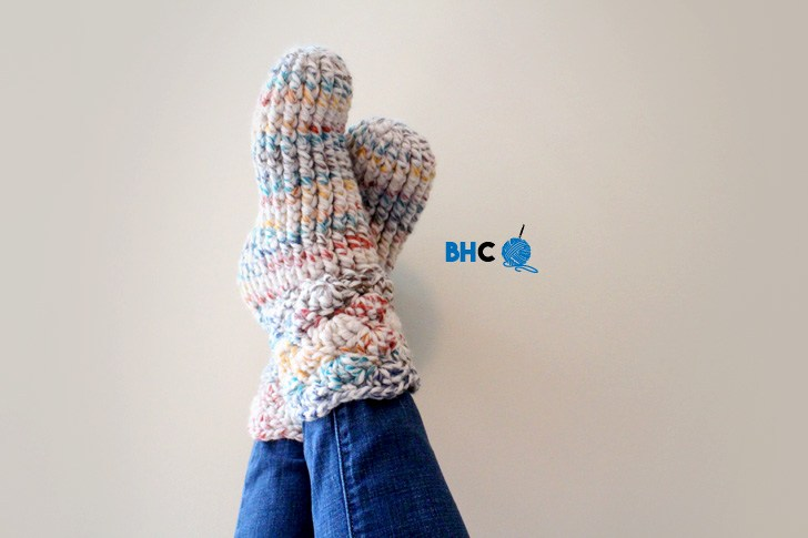 9 Free Crochet Patterns using Wool-Ease Thick and Quick in Hudson Bay   Cozy Slipper Socks by B.hooked Crochet   part of a round up The Unraveled Mitten