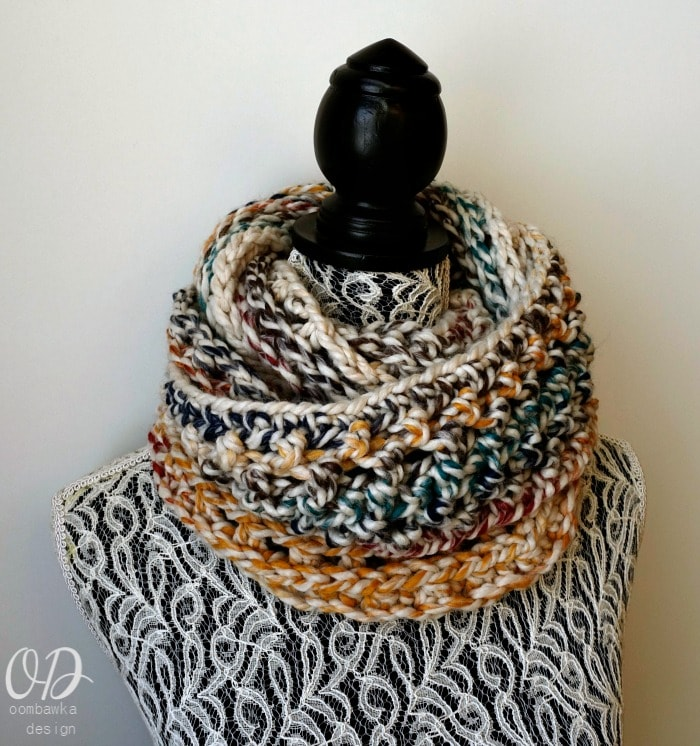 9 Free Crochet Patterns Using Wool-Ease Thick and quick in Hudson Bay   Elemental Infinity Scarf by Oombawka Design   part of a round up on The Unraveled Mitten