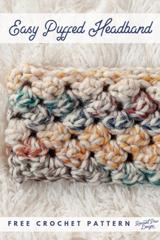 9 Free Crochet Patterns using Wool-Ease Thick and Quick in Hudson Bay   Puffed Headband by Rescued Paw Designs   part of a round up The Unraveled Mitten
