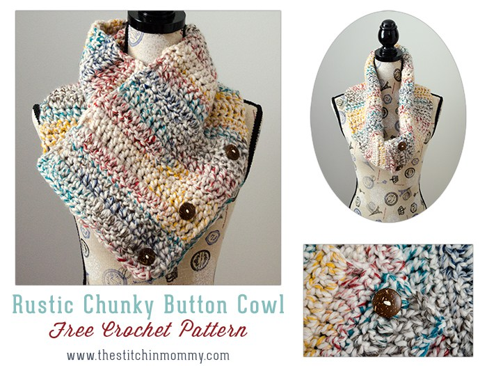 9 Free Crochet Patterns using Wool-Ease Thick and Quick in Hudson Bay   Rustic Button Scarf from The Stitchin' Mommy  part of a round up The Unraveled Mitten