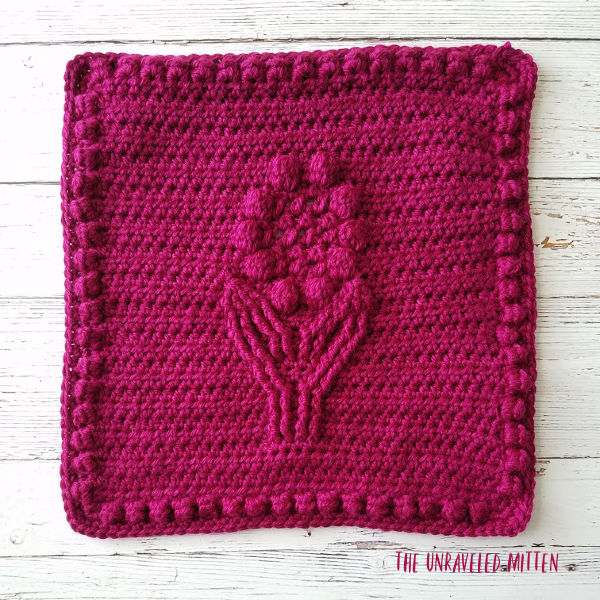 Crochet Cable Flower Square | Free Crochet Pattern | The Unraveled Mitten