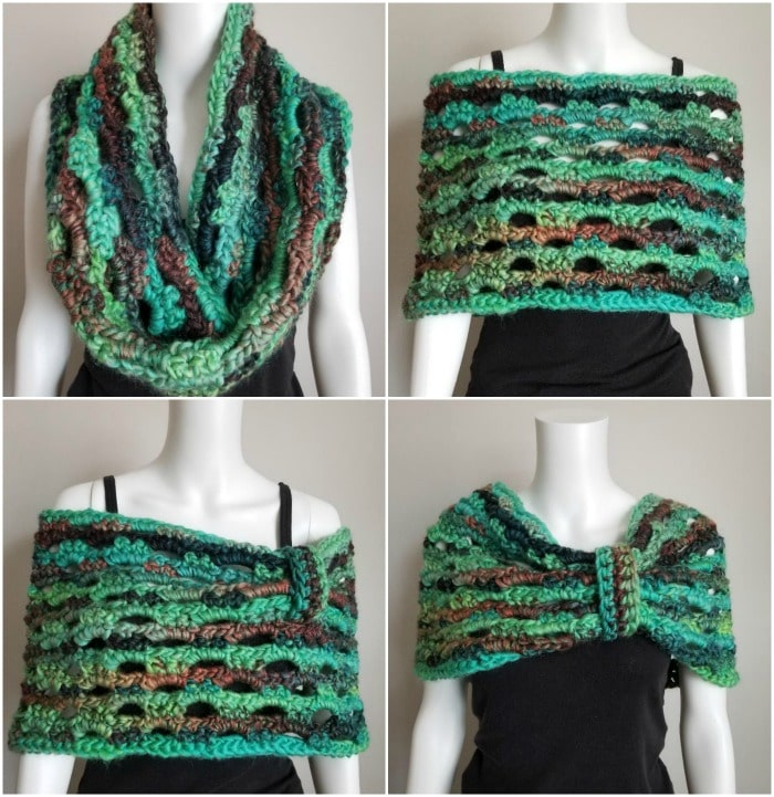 Emerald Isle Cowl by Cre8tion Crochet   Free Crochet Pattern   part of a round up on The Unraveled Mitten