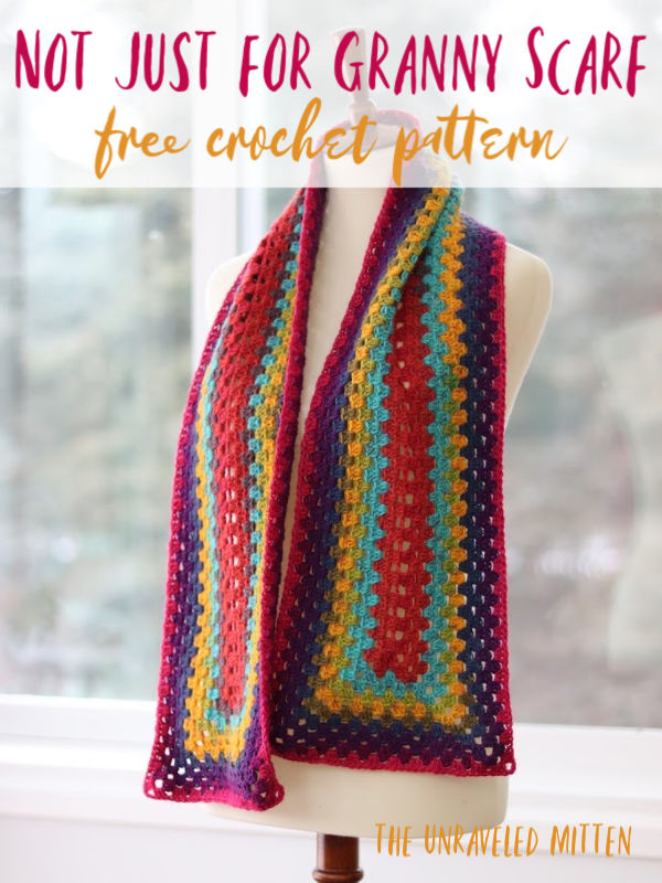 Not Just For Granny Rectangle Scarf | Free Crochet Pattern | The Unraveled Mitten | This easy crochet scarf pattern features the granny stitch in a modern rectangle pattern. You only need 1 cake of Lion Brand Mandala to crochet this scarf!