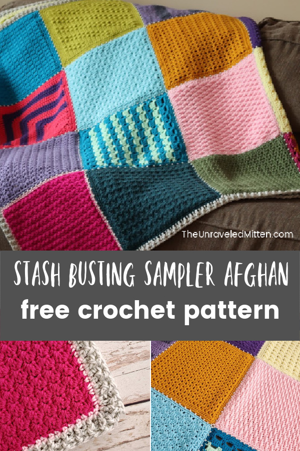 24 Crochet Square Patterns, 24 Different Crochet Stitches all using worsted weight yarn from your stash. You will learn so much making this crochet sampler blanket.