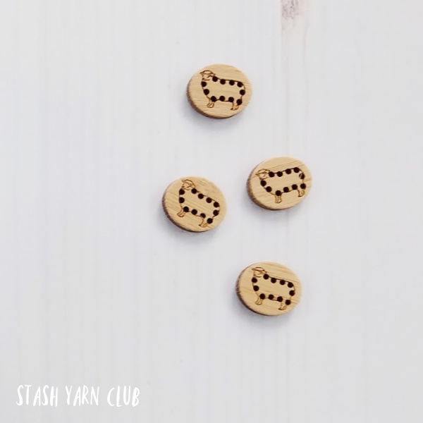 Katrinkles Stitch-able Sheep Buttons   Stash Yarn Club
