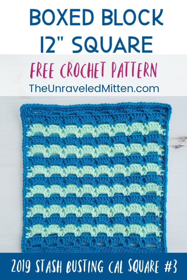 "Boxed Block Crochet Stitch | 12"" Afghan Square Free Crochet Pattern 