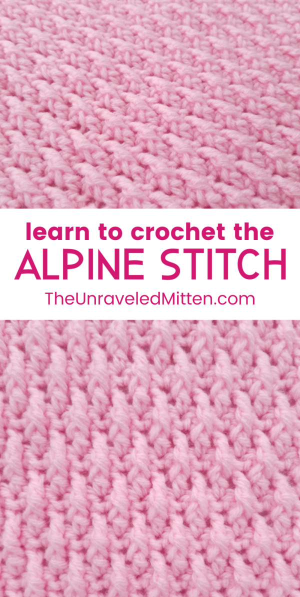 Alpine Crochet Stitch Tutorial | The Unraveled Mitten | Also, known as the raised ripple stitch, the texture on this one is AMAZING. If you are a texture lover then this crochet stitch is right up your alley. | 2019 Stash Busting Sampler Afghan Crochet Along.