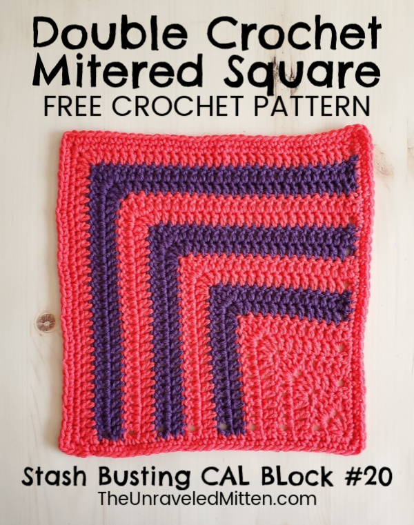 Double Crochet Mitered Square | Free Crochet Pattern | The Unraveled Mitten