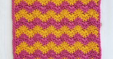 Interlocking Shell Stitch Square   Free Crochet Pattern   The Unraveled Mitten