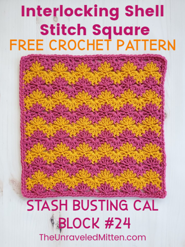 Interlocking Shell Stitch Square | Free Crochet Pattern | The Unraveled Mitten