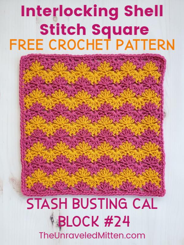 Interlocking Shell Stitch Square | Free Crochet Pattern | The Unraveled Mitten