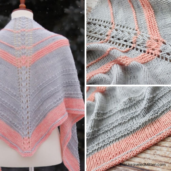 Apricity Knit Shawl | This center out triangle shawl features a lace detail down the spine and easy textured sections.