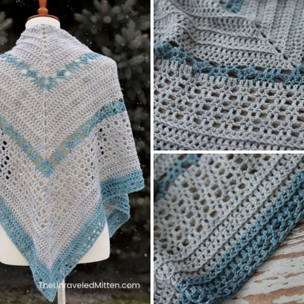 The Hibernaculum Crochet Shawl is worked from the center out in a triangle shape. It features sections of easy stitches broken up by a lovely mesh.