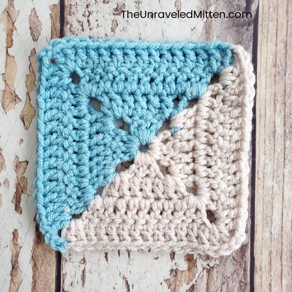 Half Square Solid Granny Square | Free Crochet Pattern | The Unraveled Mitten