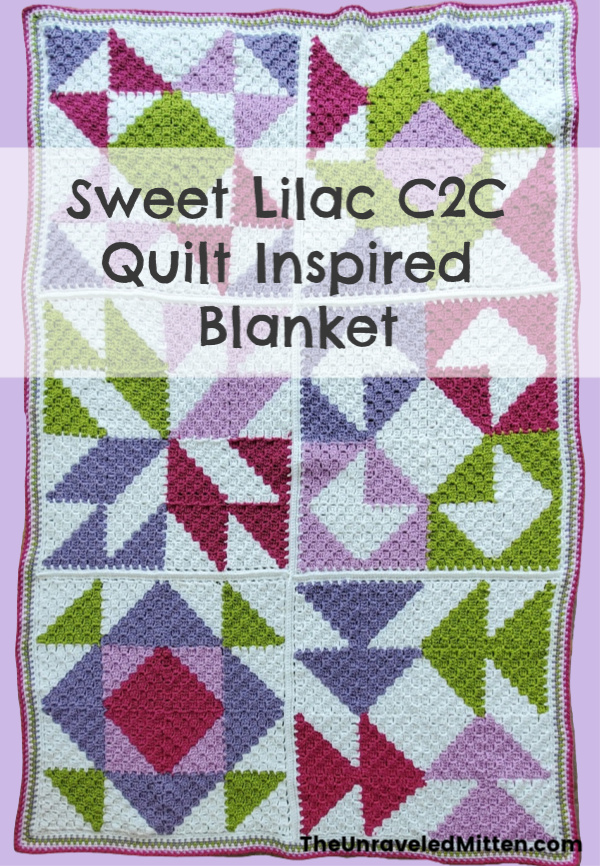 Sweet Lilac C2C Quilt Inspired Throw   Free Crochet Pattern