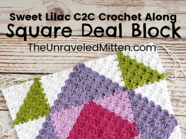 Square Deal Block | Sweet Lilac C2C Quilt Inspired Throw Blanket | The Unraveled Mitten