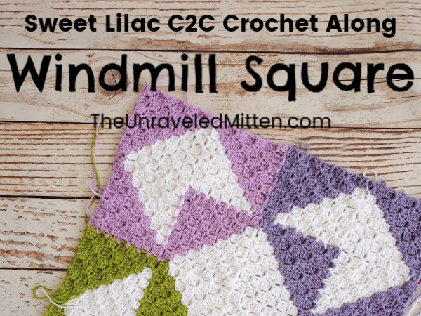 Windmill Quilt Square | Sweet Lilac C2C Crochet Along