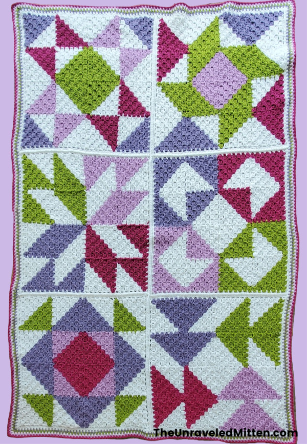 Sweet Lilac C2C Quilt Inspired Throw | Free Crochet Pattern | The Unraveled Mitten