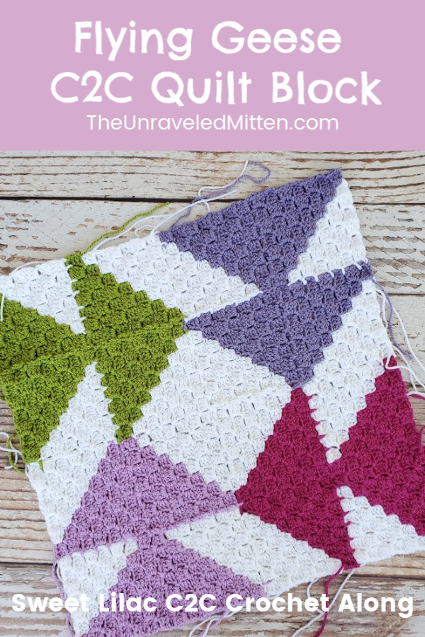 Sweet Lilac Crochet Along | Flying Geese Block | Join as you go corner to corner (c2c) quilt inspired throw blanket