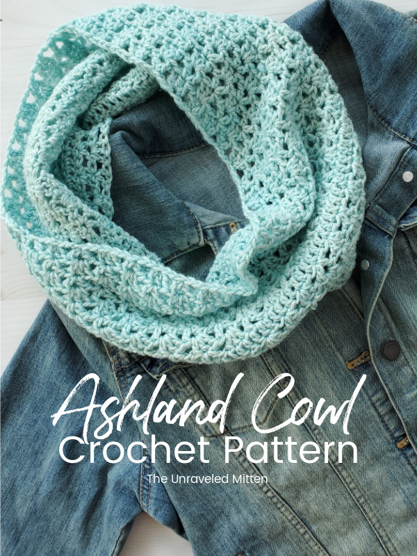 One skein of DK weight yarn and simple stitches are combined in this easy, lightweight crochet cowl pattern. The lacy crochet stitches make this cowl feel feminine and elegant.