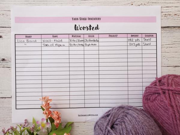 Yarn Inventory Printable