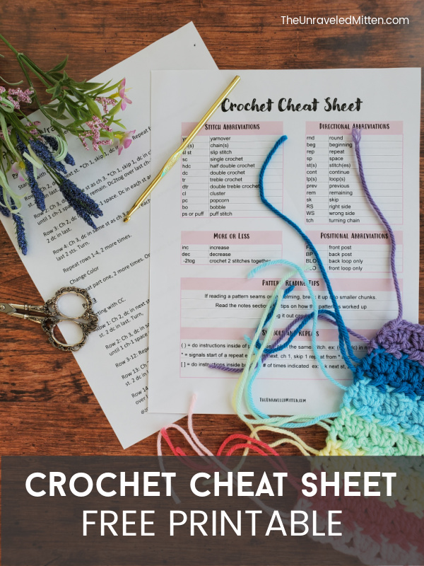 Printable Crochet Cheat Sheet