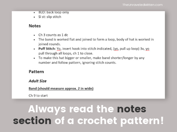 Always Read the Notes Section of a Crochet Pattern!