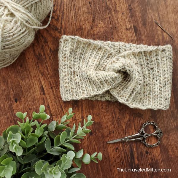 Easy Ribbed Twisted Ear Warmer Crochet Pattern