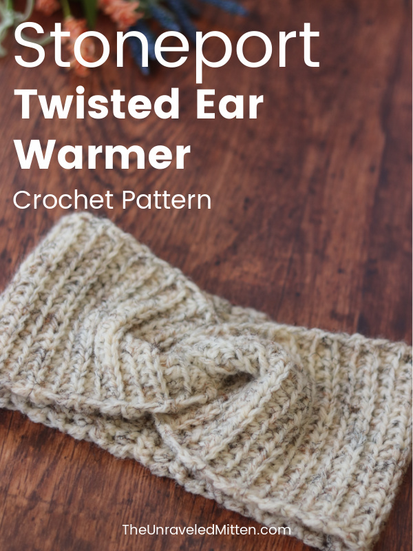 Ribbed Twisted Crochet Ear Warmer Pattern | Stoneport Ear Warmer | The Unraveled Mitten | This easy crochet pattern works up quickly using half double crochet stitches.