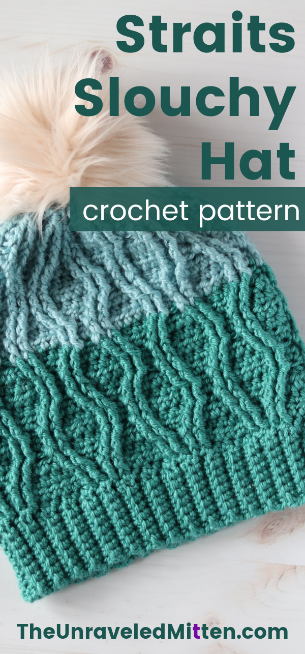 This Crochet cable Slouchy Hat Pattern features a really pretty wavy cable design created with post stitches. Add a faux fur pom to make this hat extra special!