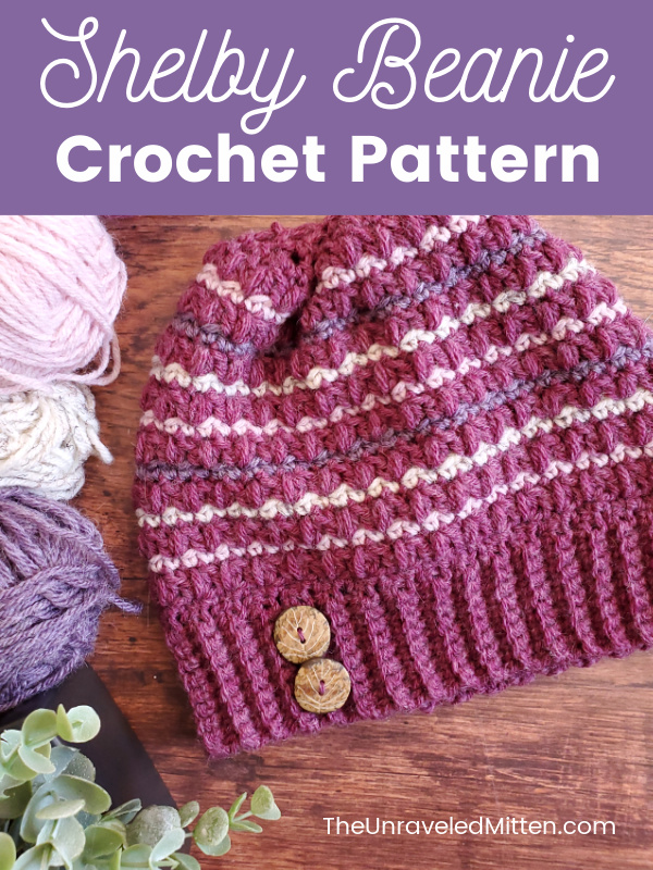 This crochet hat pattern uses the mixed cluster stitch done in stripes. This fun little scrap buster crochet pattern works up on no time. Preschool, child and adult sizes.