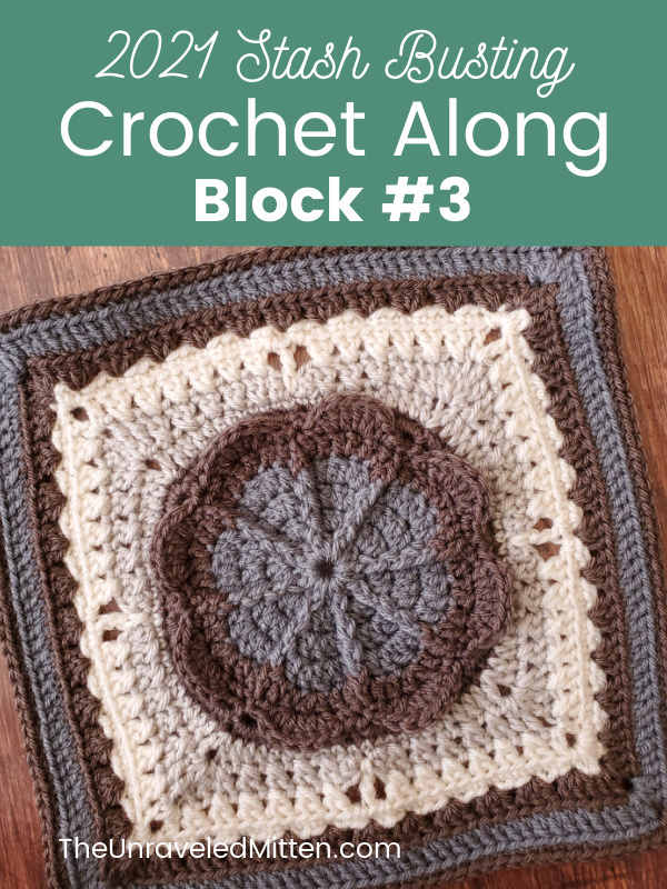 This is block #3 of the 2021 Stash Busting Crochet Along hosted by The Unraveled Mitten. The Spring is on the Way square was designed by Marie from The Underground Crafter