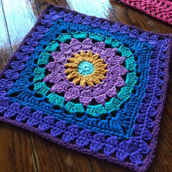 Equinox Granny Square by Cypress Textiles | Alternate Granny Square for the 2021 Stash Busting Crochet Along