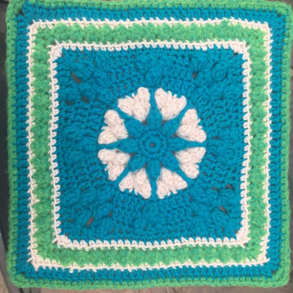 Equinox Granny Square by Cypress Popcorn Hearts Square by Julie Yeager | Alternate Granny Square for the 2021 Stash Busting Crochet Along