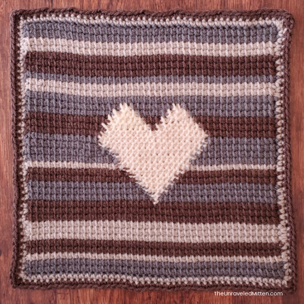 Striped Tunisian Crochet Square with white heart in Center