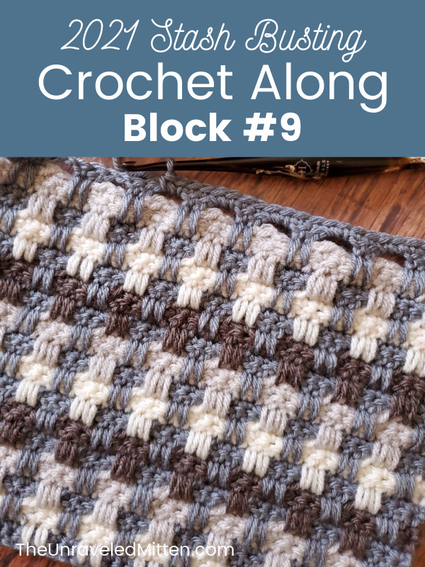 Woven Textured Afghan Square by Rich Textures Crochet for the 2021 Stash Busting Crochet Along on The Unraveled Mitten